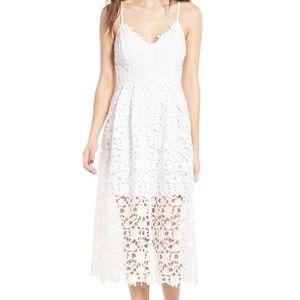 Astr White Lace Midi Dress